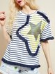Blue Appliqued Crew Neck Short Sleeve Stripes T-Shirt