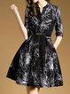 Black A-line Mesh Half Sleeve Midi Dress