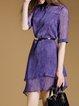 Purple Half Sleeve A-line Plain V Neck Mini Dress