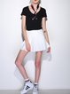White Casual Plain Polyester Pleated Mini Skirt
