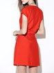 Red Simple Pockets Polyester Mini Dress with Belt