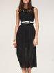 Black Pleated Plain Sleeveless Midi Dress
