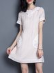 A-line Girly Crew Neck Short Sleeve Bow Mini Dress
