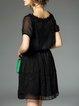 Black Vintage V Neck Mini Dress