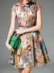 Multicolor Shirt Collar Vintage A-line Cotton-blend Mini Dress