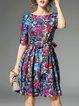 Multicolor Vintage Crew Neck Mini Dress with Belt