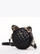 Black Mini Round Cowhide Leather Crossbody Bag