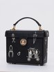 Black Statement Embroideried Cowhide Leather Mini Crossbody