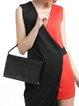 Silver Magnetic Cowhide Leather Shoulder Bag