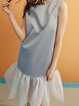 Gray H-line Paneled Polyester Sleeveless Midi Dress