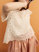 White Short Sleeve Lace Blouse