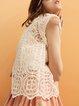 White Short Sleeve Lace Blouse