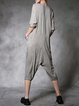 Gray Plain Crew Neck Pockets Casual Jumpsuit With Scarf