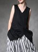 Black Silk V Neck Asymmetric Sleeveless Tunic
