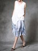 Blue Casual Dip-Dyed Plain Linen Midi Skirt