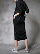 Black Cotton Half Sleeve Midi Dress