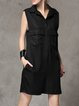 Black Silk Statement Pockets Romper