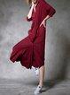 Red Shirt Collar Statement Plain Midi Dress