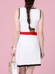White Casual Sheath Floral Mini Wool Dress