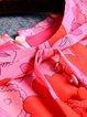Pink Crew Neck Vintage Printed Midi Dress