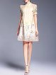 Two Piece Floral Embroidered Vintage Frill Sleeve A-line Mini Dress