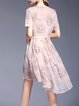 Pink Floral Asymmetric Polyester Half Sleeve Midi Dress