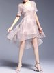 Pink Floral Asymmetric Polyester Half Sleeve Midi Dress