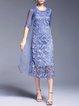 Blue Elegant Polyester Shift Midi Dress
