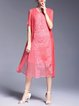 Red Elegant Silk Embroidered Shift Half Sleeve Midi Dress