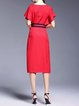 Crew Neck Bow Simple Batwing Midi Dress with Belt