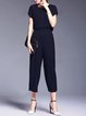 Dark Blue Plain Short Sleeve Zipper Two Piece Jumpsuit