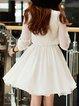 A-line Half Sleeve Shirt Collar Casual Mini Dress