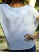 Pierced Casual Plain Crew Neck Short Sleeved Top