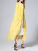 Yellow Elegant Crew Neck Midi Dress