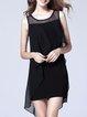 Black Casual Chiffon A-line Paneled Midi Dress