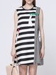 Multicolor A-line Stripes Statement Crew Neck Mini Dress