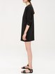 3/4 Sleeve Simple Crew Neck Plain Pockets Mini Dress