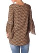 Brown 3/4 Sleeve Crew Neck Embroidered Blouse