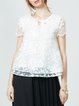 White Embroidered Short Sleeve Crew Neck Blouse