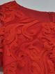 Red Crew Neck Plain Paneled Short Sleeve Midi Dress