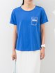 Royal Blue Letter Crew Neck Short Sleeved Top