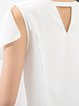 White Plain Chiffon Crew Neck Sleeveless Tanks And Cami