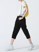 Black Plain Linen Casual Cropped Pants