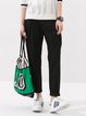 Black Plain Cotton Casual Straight Leg Pants