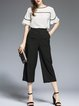 Black Two Piece Pockets Binding Frill Sleeve Jumpsuit