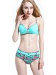 Light Blue Nylon Straped Padded Ruched Bikini