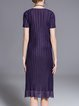Purple H-line Short Sleeve Pleated Midi Dress