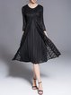 Vintage 3/4 Sleeve A-line Crew Neck Pleated Midi Dress