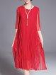 Elegant Half Sleeve Crew Neck A-line Midi Dress