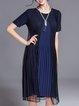 Dark Blue H-line Pleated Elegant Midi Dress